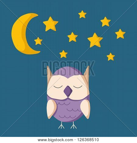 Vector illustration with sleeping owl. Night time to bed. Cartoon sleeping owl with moon and stars. Insomnia concept with night sky and owl. Night dreams and sleeping owl concept