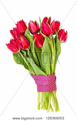 Bouquet Of Red Tulips Decorated With Ribbon Isolated Over White Background.