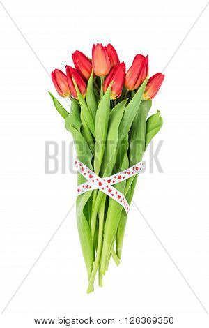 Bouquet Of Red Tulips Decorated With Hearts Ribbon. Isolated Over White Background. Valentines Day C