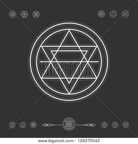 Sacred geometry. Set of minimal geometric shapes. Religion, philosophy, spirituality, occultism symbols collection poster
