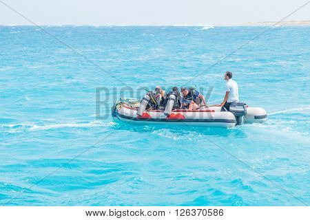 PORT GHALIB, EGYPT, MARCH 30, 2016:  Boat with scuba divers on Red Sea