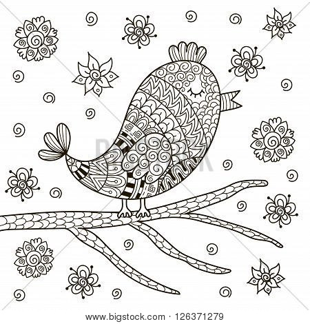 Cute zentangle bird sitting on branch for coloring book. Black and white background. Vector illustration