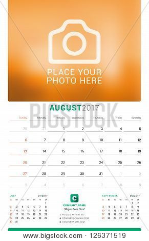 August 2017. Wall Monthly Calendar For 2017 Year. Vector Design Print Template With Place For Photo.