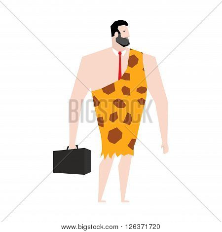 Businessman prehistoric. Ancient boss in skin of giraffe. Neanderthal ina tie. Cro-Magnon to case. Homo sapiens business man. paleanthropic with suitcase. Caveman Director poster