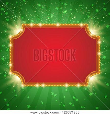 Shining Background With Retro Casino Light Banner