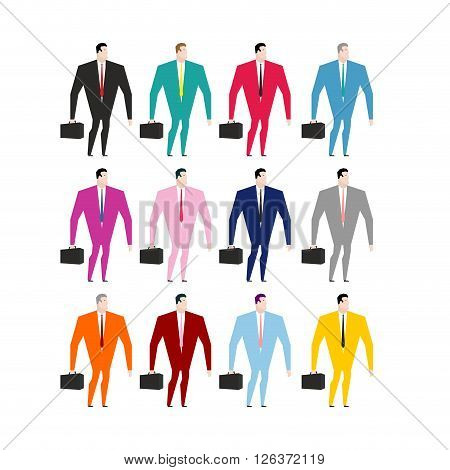 Set Businessman In Colorful Costumes. Man In Pink Dress. Businessman With Briefcase. Manager In Blue