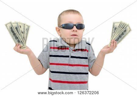 Boy In Amazement Holding Money On White Background