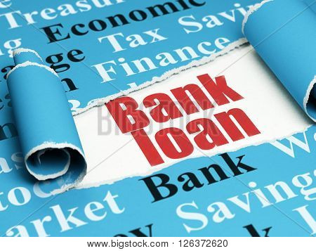Money concept: red text Bank Loan under the piece of  torn paper