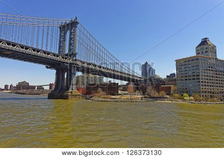 Manhattan bridge over East River. The Bridge connects Lower Manhattan with Brooklyn of New York USA. View of Brooklyn side.