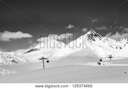 Ski Resort At Nice Sun Day. Selective Color.