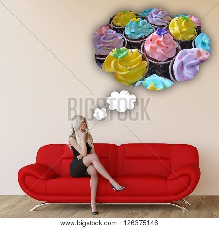 Woman Craving Cupcakes Concept with House Interior Art 3D Illustration Render
