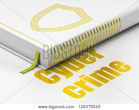 Security concept: book Contoured Shield, Cyber Crime on white background