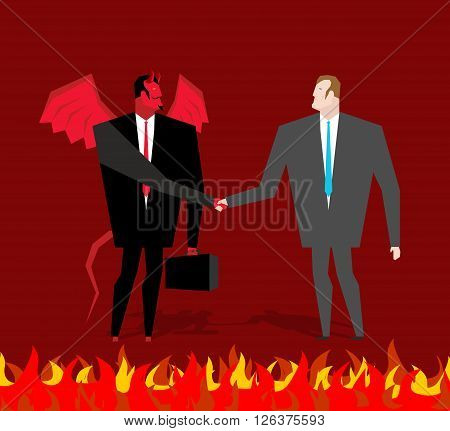 Deal with devil. Businessman and make a deal demon in hell. Satan and man shake hands. Handshake in purgatory. Contract between devil and manager. Lucifer in business suit and sinner poster