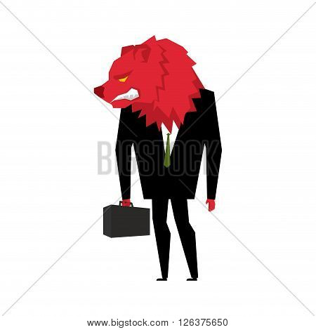 Red Bear Businessman. Player On The Stock Exchange With Bears Head. Wicked Wild Animal With Briefcas