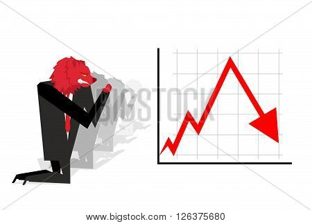 Red Bear Prays For Fall In Rate Of Exchange. Red Down Arrow. Worship Of Money. Businessman Prayer Qu