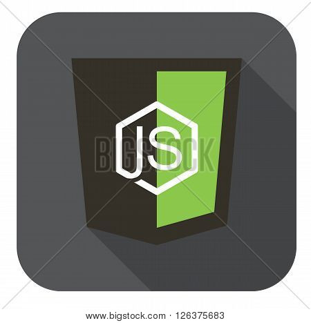 vector icon web shield node framework - isolated flat design illustration long shadow  grey icon on white