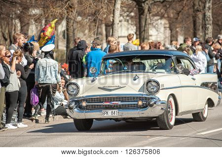 NORRKOPING, SWEDEN - MAY 1: Chevrolet Bel Air 1957 at the classic car parade celebrates spring on May 1, 2013 in Norrkoping. This parade started in 1974 and has become an annual tradition in Norrkoping on May 1.