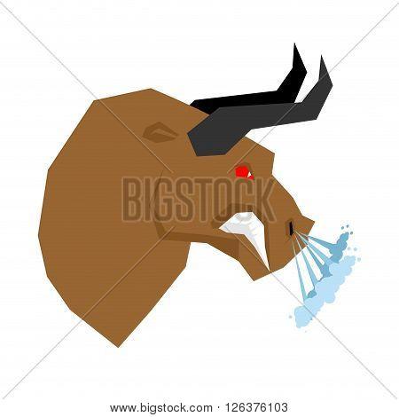 Angry Bull. Head Of An Aggressive Beast With Big Grin. Farm Animal Beast Growls. Scary Fierce Buffal