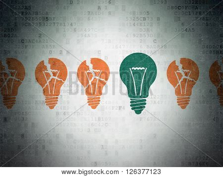 Finance concept: light bulb icon on Digital Paper background