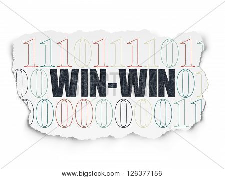 Business concept: Win-Win on Torn Paper background