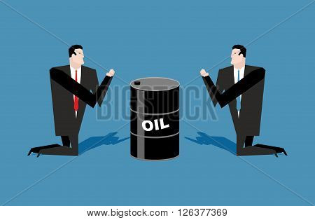 Businessman Praying For Oil Barrels. Prayer Oil Quotations. People Are Standing On Their Knees In Fr