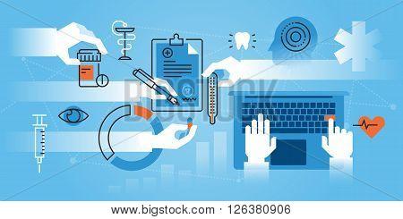 Flat line design website banner of medical school, medical specialization. Modern vector illustration for web design, marketing and print material.