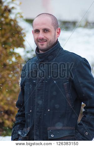 Adult Man Outdoor Cold Winter Day
