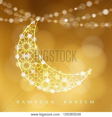 String with ornamental moon and bokeh lights golden vector illustration background card invitation for muslim community holy month Ramadan Kareem