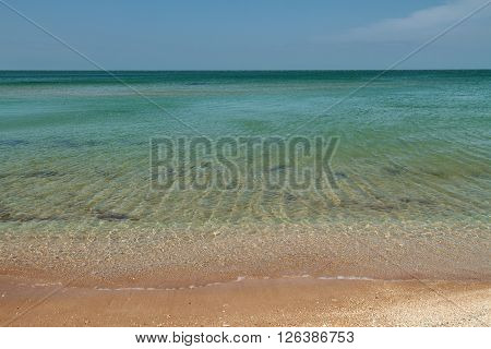 seacoast with turquoise water summer sunny day
