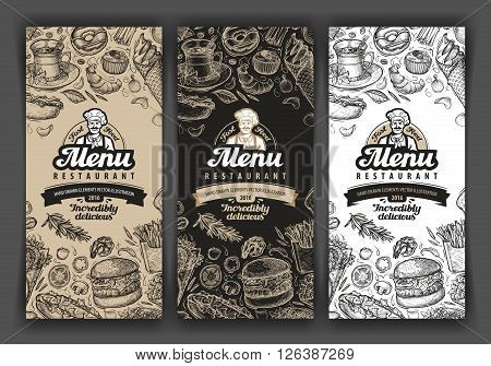 vector vintage sketch food illustration. design template menu covers for restaurant or cafe, eatery, diner, bistro