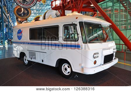 FLORIDA, USA - DEC 20: Apollo astronaut van carried the space astronauts to the Saturn V rockets in launch pad, Kennedy Space Center Visitor Complex on Dec. 20, 2010 in Cape Canaveral, Florida, USA.