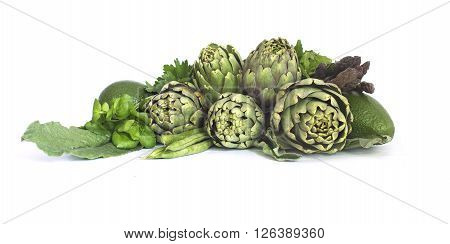 White background  with Fresh green spring vegetables
