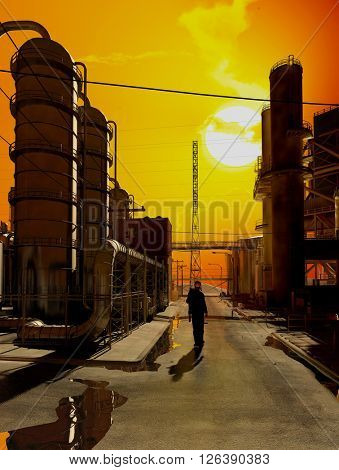 Silhouette of a worker in the factory.,3d render