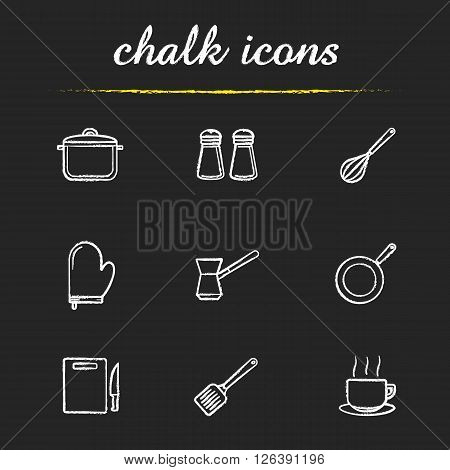 Kitchenware chalk icons set. Stew pan, iron skillet and cutting board symbols. Kitchen tools items. Cooking equipment. White illustrations on blackboard. Vector chalkboard logo concepts
