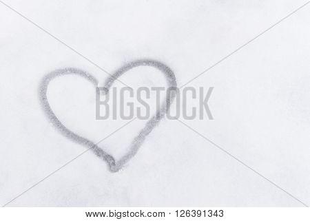 Love Heart Sign Writen On The Snow