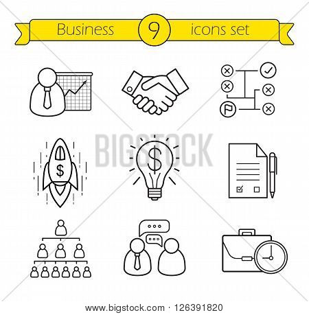 Business linear icons set. Teamwork, company hierarchy and work management thin line illustrations. Presentation with graph, signed contract and handshake symbols. Vector isolated outline drawings