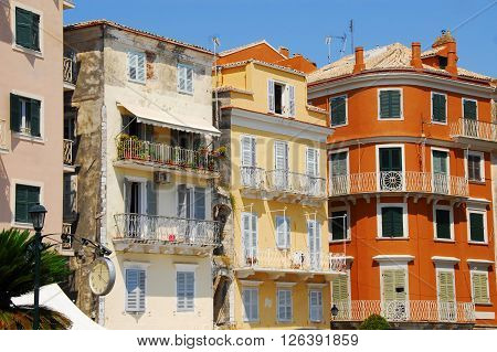 colorful buildings on Greek island Corfu at sunlight ** Note: Soft Focus at 100%, best at smaller sizes