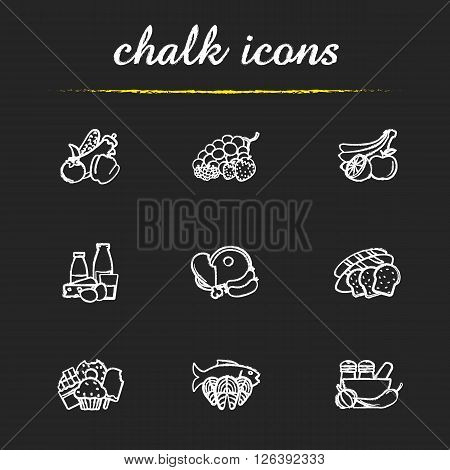 Grocery store items chalk icons set. Everyday products. Meat, fish, bread, spices and sweets symbols. Supermarket food categories. White illustrations on blackboard. Vector chalkboard logo concepts