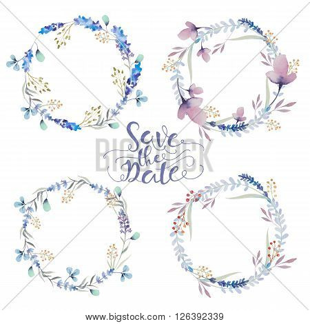 Set of watercolor floral wreath. Watercolour natural frame: leaves feathers flowers birds. Isolated on white background. Artistic decoration illustration. Greeting card save the date