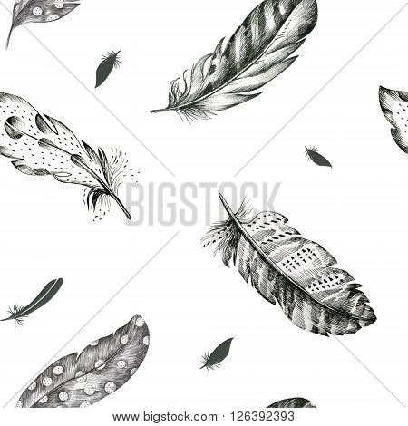 Vintage seamless graphic pattern with hand-drawn feathers. Flying boho birds fashion arts. Wallpaper decoration animals decor. Nature element