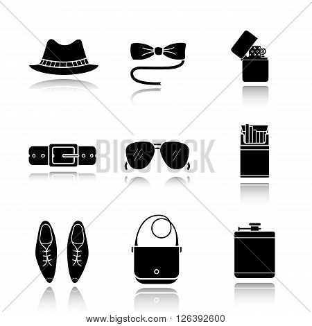 Men's accessories drop shadow black icons set. Hipster tuxedo butterfly tie and sunglasses illustrations. Homburg hat, leather belt, men shoes and handbag symbols. Logo concepts. Vector illustrations poster