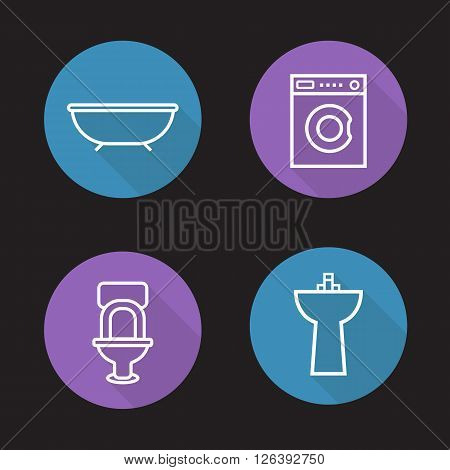 Bathroom flat linear icons set. Bath, washing machine, toilet and ceramic sink. Washroom interior. Long shadow outline logo concepts. Vector line art illustrations