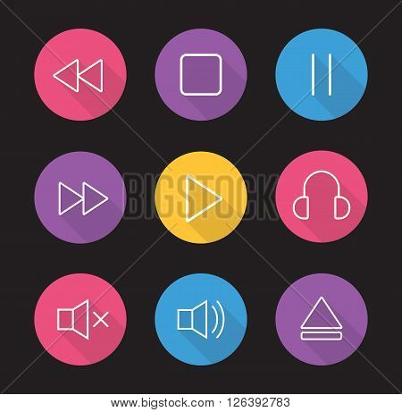 Multimedia flat linear long shadow icons set. Audio and video control elements. Mp3 music player. User graphic interface items. Rewind, pause, stop and play buttons. Vector illustrations