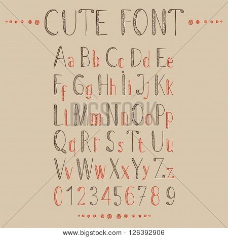 Hand drawn alphabet in retro style. ABC for your design. Easy to use and edit letters.