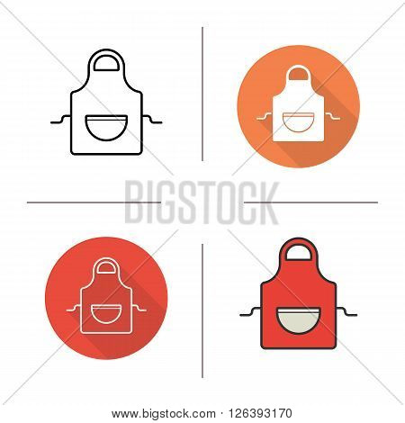 Apron flat design, linear and color icons set. Chef uniform. Kitchen item. Cooking equipment. Contour and long shadow logo concepts. Isolated vector illustrations