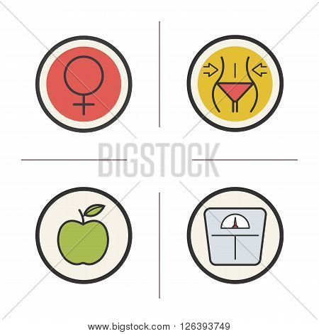 Weight loss diet color icons set. Slimming and apple nutrition symbols. Venus emblem and floor scale. Female organism symbol. Slim and healthy body. Logo concepts. Vector isolated illustrations