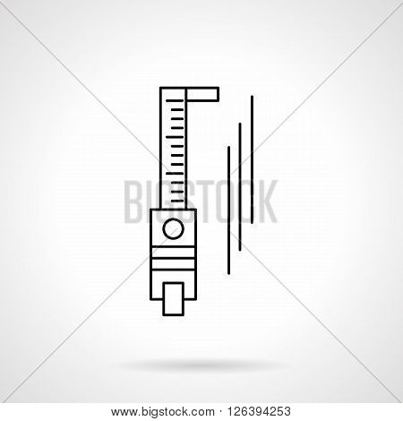 Abstract sign of sliding calliper or trammel. Measurement tools and devices. Metrology object. Flat line style vector icon. Single design element for website, business.