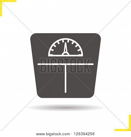 Scales icon. Drop shadow floor scales icon. Household human weight measurement appliance. Isolated scales black illustration. Logo concept. Vector silhouette floor scales symbol