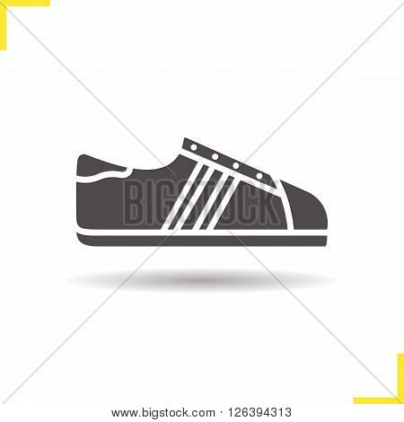 Sneaker icon. Drop shadow shoe icon. Modern teenage footwear. Athletic fashion shoes. Isolated sneaker black illustration. Shoe logo concept. Vector silhouette sneaker symbol