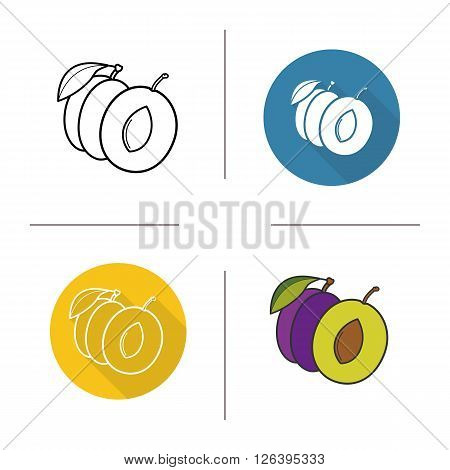 Plum flat design, linear and color icons set. Plum symbol in different styles. Halved plum icons. Sweet juicy fruit. Long shadow logo concept. Plum isolated vector illustrations. Infographic elements